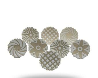 Set of 8  White on White Ceramic Saucer Knobs