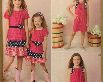 Simplicity 1478 Girls Ruffled Knit Tank, Top or Dress with Tiered Skirt and Accessories - Size 7 8 10 12 14
