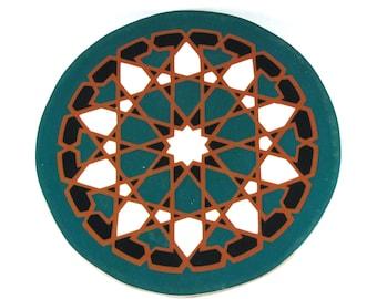 Starburst Mandala Tile Trivet - Terracotta Trivet - Hot Plate - Moroccan Tile Trivet - Decorative Tile - Art Tile - Wall Tile - Accent Tile