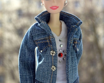 Barbie clothes,barbie 4 set,barbie cool outfit,barbie denim clothes,barbie clothes handmade,barbie denim jacket,barbie denim cap,doll jeans.