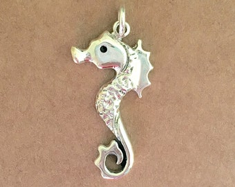 Silver Seahorse Pendant, Sterling Silver Pendant, Seahorse Pendant, Mermaid Jewelry, Seahorse Jewelry, Silver Seahorse Necklace, Seahorse