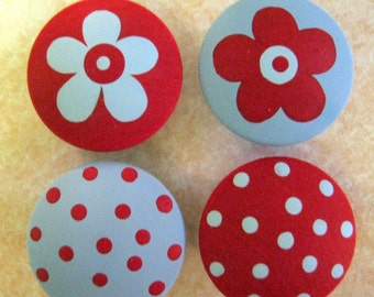 Set of 8 - RED and BLUE - Polka Dots and FLOWERS - Hand Painted Dresser Drawer Knobs