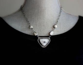 READY TO SHIP - Shadow Box White Buffalo Turquoise Oxidized Sterling Silver Necklace | Shadow Box Geometric Minimalist Boho | Gugma Jewelry