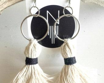 Black and White Tassel Drop Earings