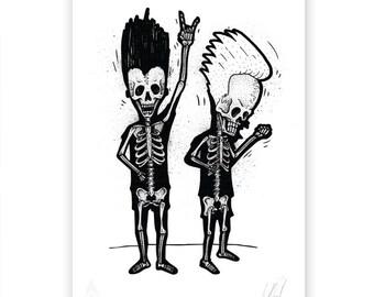 Beavis and Butthead skeletons art print