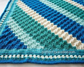 Crochet Pattern Baby Blanket C2C Corner to Corner Striped Throw
