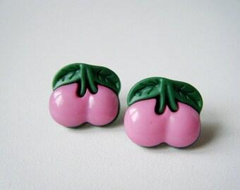 Pale pink cherry ♥ earrings ♥