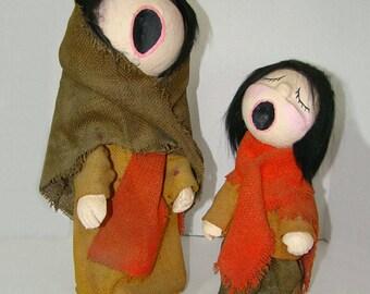Paper Mache Dolls • Handmade Art Dolls • Singing Paper Mache Artisan Dolls • Burlap Dolls Paper Mache