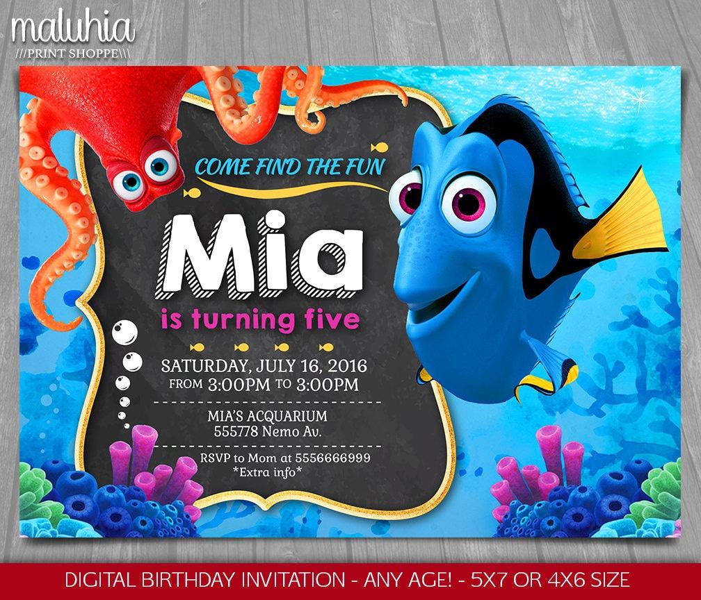 Finding Dory Invitation Finding Nemo Invite Disney Pixar