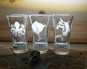 Set of 3 marine life shot glasses, Gifts for scuba diver, Custom scuba diver Gifts, Custom Gift for scuba diver, personalized diver gift