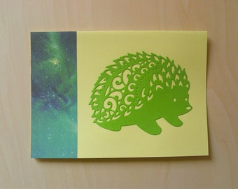 Card hedgehog yellow / green all occasions