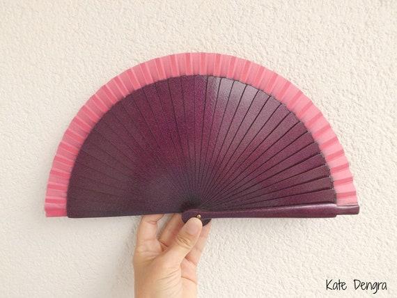 Sml Plain Metallic Pink Wooden Hand Fan Customizable