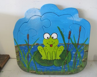 Frog in Pond Wooden Puzzle