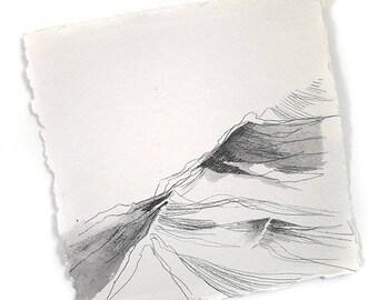 "Sea ripples - sea surf inspired original drawing 8""x8"""
