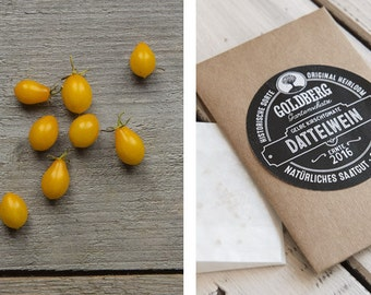 "Pear tomato ""Yellow date wine"" in the button & string seed sachets"