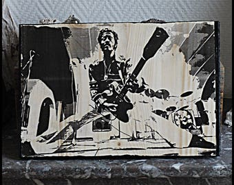 "Transfer image on wood ""CHUCK BERRY"""