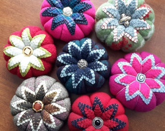 Handmade -- Large Wool Pincushion -- Made from Vintage Upcycled Wool and Crushed Walnut Shell Stuffing -- Vintage Buttons