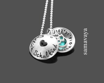 Chain finally to school SCHOOLCHILD 925 Silver necklace with engraving name chain