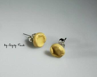 Boucles d'oreilles en céramique jaunes - clous d'oreilles