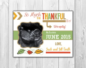 Thanksgiving Pregnancy Announcement Cards and Envelopes   4 count