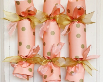 Peach and Gold Wedding Party Cracker