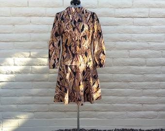 Vintage 60s Mod Drop Waist Brown Paisley Polester Dress Sz M