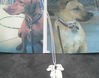 Custom 2 Pet Portrait TaGette Necklace .. Sterling Silver silhouette Jewelry Memoralize Keepsake