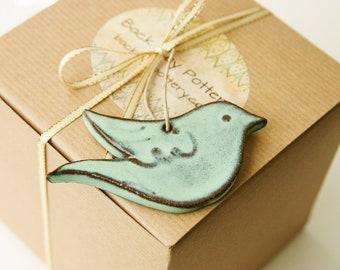 Bird Ornament - Aqua Mist - Handmade One of a Kind Gift - READY TO SHIP