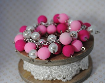 PINK glass pearl beaded bracelet