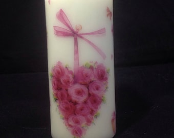 Heart of roses pillar candle