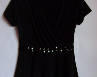 Vintage Womens Top/Black Summer Blouse/ Embroidered Black Pearls/V Neck/ Party Blouse/Short Sleeve/ Elastic Top/Size  M