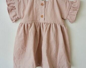The Loa Dress, Infant Dress, Belle Sleeve, Baby Linen Dress, Soft Dress