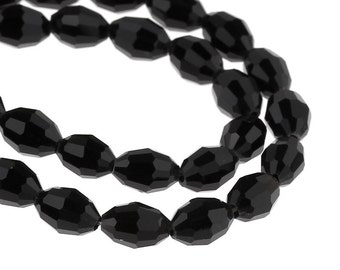 8x6mm JET BLACK Faceted Oval Glass Crystal Beads, about 72 beads,  bgl0747b