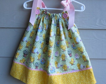Green Easter Basket Pillowcase Dress - will fit a 9 to 12 mth old -