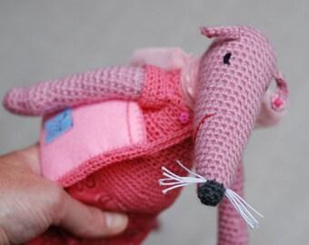Pink Crochet Rat Amigurumi Crochet Toy Animal Baby Girl Boy Girl Soft Customized Toys Handmade Gift