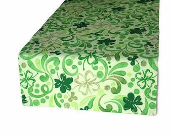"""14"""" x 48"""" Green Clover Table Runner, St. Patrick's Table Runner, 14"""" x 48"""" Green Floral Table Runner, 14"""" x 48"""" Green Table Runner"""