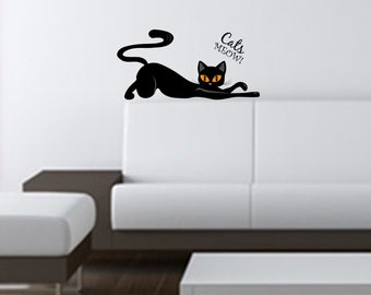 CAT MEOW DECAL, Cats Meow, Black Cat, Nursery Bedroom Living Room Wall Decor Decal, Lettering, Custom Size, Removable Vinyl