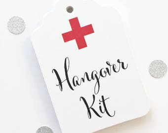 Hangover Survival Kit Favor Tags, Hangover Kit Favor Tags, Wedding Party Weekend Favor Bag Tags (ST-542)