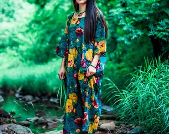 Womens Loose Fitting Printed Floral Retro Cotton and Linen Dress, Dresses For Women, Loose Dress, Long Dress, Bust>140CM