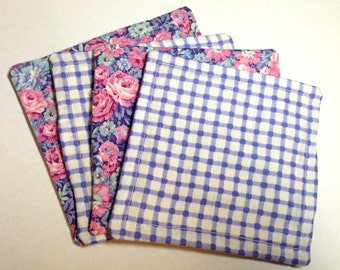 Reusable and Reversible Fabric Coasters Set of 4