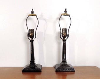 Set of 2 Vintage Black Night Light Art Deco Style Heavy Patina Table Lamps
