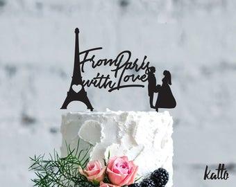 Wedding in Paris cake topper- Wedding cake topper- Silhouette wedding cake topper-Personalized cake topper- Personalized wedding Cake Topper