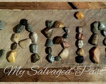 Rustic CABIN Sign Made From Reclaimed Barn Wood & River Rocks From Southern Indiana Home Wall Nature Natural Upcycled Salvaged Art Decor