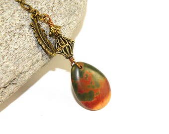 Jasper Car Charm for Rear View Mirror, Indoors Window Decoration, Feng Shui Charm or Pendulum Necklace