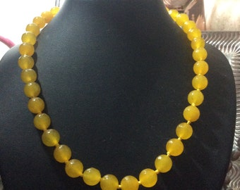 Topaz yellow faceted  gemstone  necklace