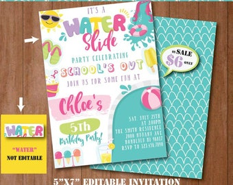 Water Slide Party Invitation-Self-Editing Printable Pool Slide Birthday Invite-Summer Party-Splash Party-First Birthday-Any age-A132-G