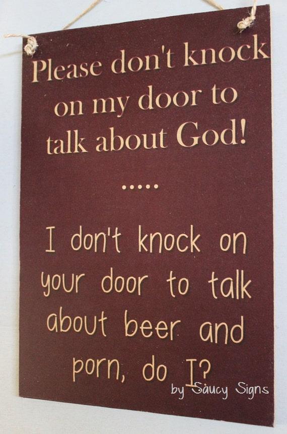 & Naughty Door Knockers Beer Porn God Sign welcome warning