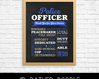 Police Officer Gift - Printable Police Officer Chalkboard Sign - Police Gift - Police Appreciation - Police Officer Printable Gift - Digital