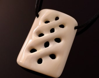 Braided Bone Pendant, Bone Pendant, Natural Jewellery, Handmade Jewellery, Gift for Him, Unique Necklace