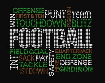 Football Terms Rhinestone Shirt